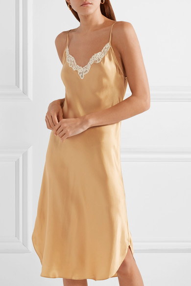 Sequoia Lace Trimmed Silk Satin Slip Dress by Mes Demoiselles