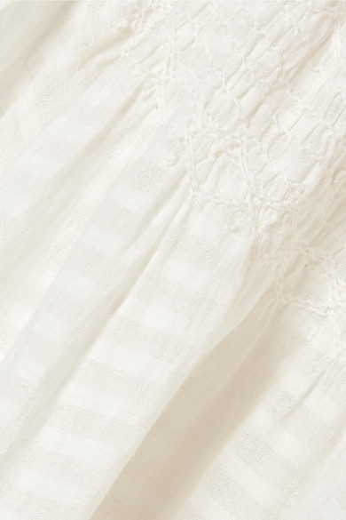 Mes Demoiselles Adriatic gesmoktes Oberteil aus Baumwoll-Gaze mit Streifen
