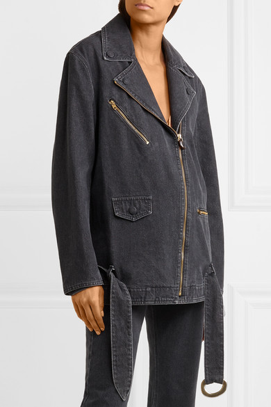 Nanushka Cite Bikerjacke aus Denim in Oversized-Passform
