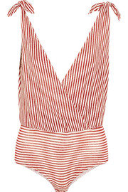 Paloma striped linen-blend jersey bodysuit