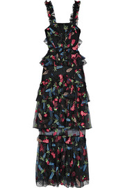 alice McCALL She Moves Me tiered ruffled embroidered tulle maxi dress