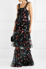 She Moves Me tiered ruffled embroidered tulle maxi dress