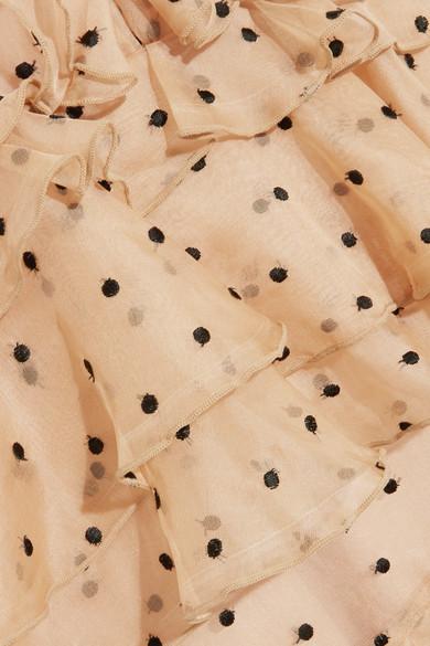 alice McCALL Yoko gestufte Robe aus Seidenorganza mit eingewebten Punkten und Rüschen