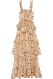 alice McCALL Yoko ruffled tiered Swiss-dot silk-organza gown