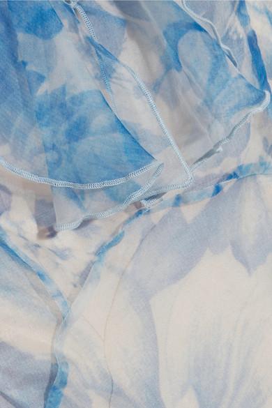 alice McCALL Oh My Goddess rückenfreie Robe aus Seidenorganza mit Blumenprint und Rüschen
