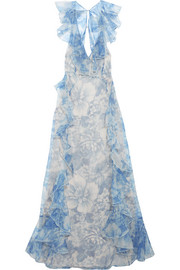 alice McCALL Oh My Goddess open-back ruffled floral-print silk-organza gown
