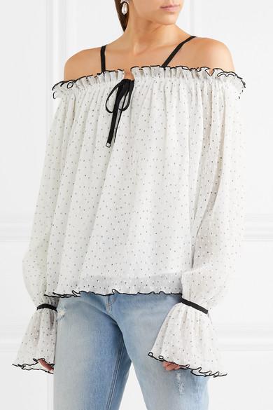 alice McCALL Picture This schulterfreie Bluse aus Georgette mit eingewebten Punkten und Rüschen