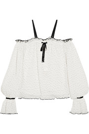 alice McCALL Picture This off-the-shoulder ruffled Swiss-dot georgette blouse