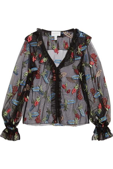 alice McCALL Time Stands Still bestickte Bluse aus Tüll mit Rüschen