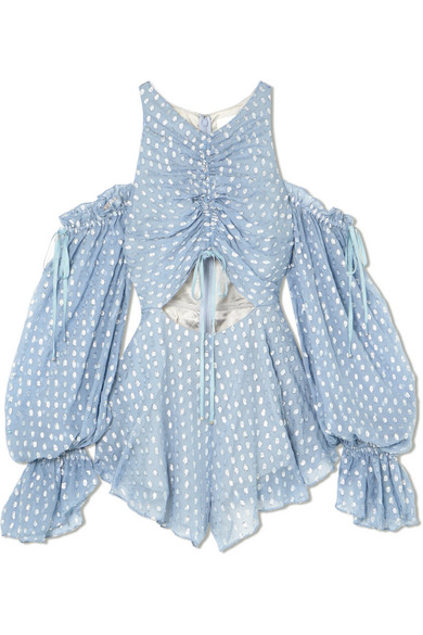 alice McCALL Did It Again schulterfreier Playsuit aus Georgette mit Fil Coupé und Raffungen