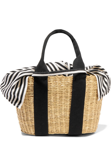 Muun Caba Mini Tote From Straw And Striped Cotton-canvas