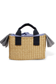 Ninon straw and gingham cotton-canvas tote