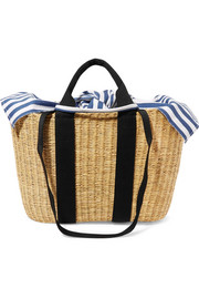 Caba straw and striped cotton-canvas tote