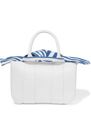 Gilbert micro leather and striped cotton-canvas tote