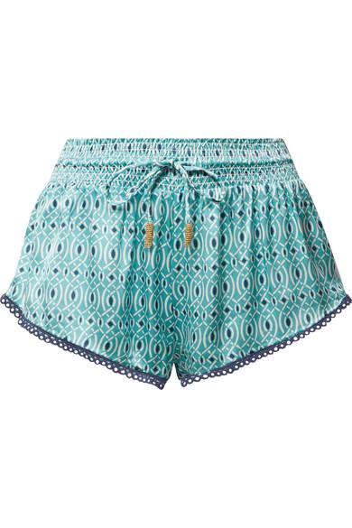 Paloma Paloma Blue Printed Silk Satin Shorts From
