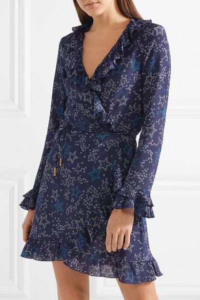Paloma Blue Fiesta Wickelkleid aus bedruckter Seide mit Rüschen