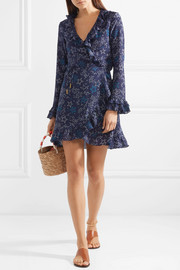 Fiesta ruffled printed silk wrap dress