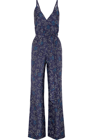 Printed Silk Strappy Jumpsuit