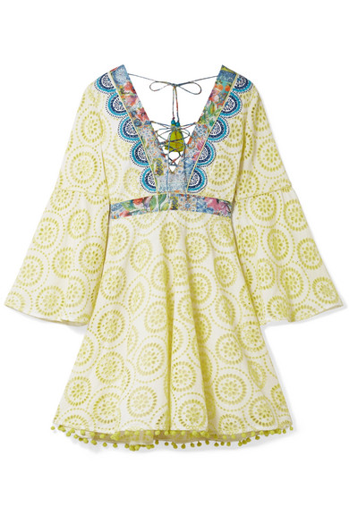MATTHEW WILLIAMSON Deia Fiesta Printed Silk-Trimmed Broderie Anglaise Cotton Dress in Pastel Yellow