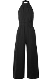 Archer open-back cropped cotton jumpsuit