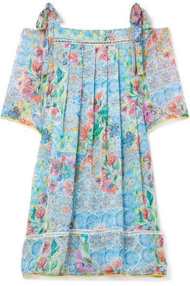 Matthew Williamson Deia Fiesta Kleid aus bedrucktem Seidenchiffon mit Cut-outs an den Schultern