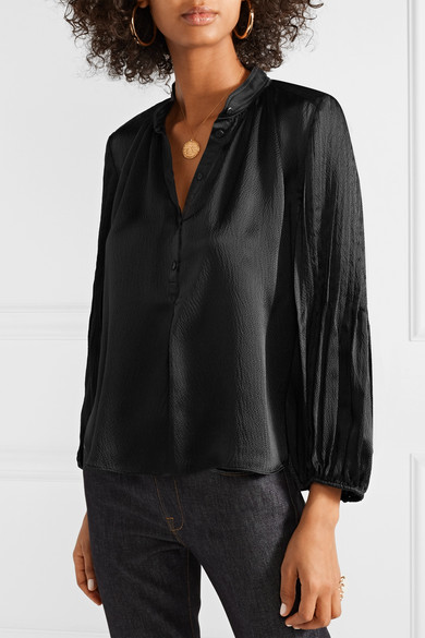 755651f9254cc7 APIECE APART | Bravo pleated hammered silk-satin blouse | NET-A ...