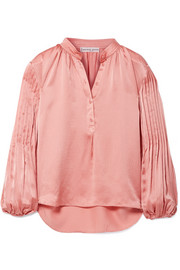 Bravo pleated hammered silk-satin blouse