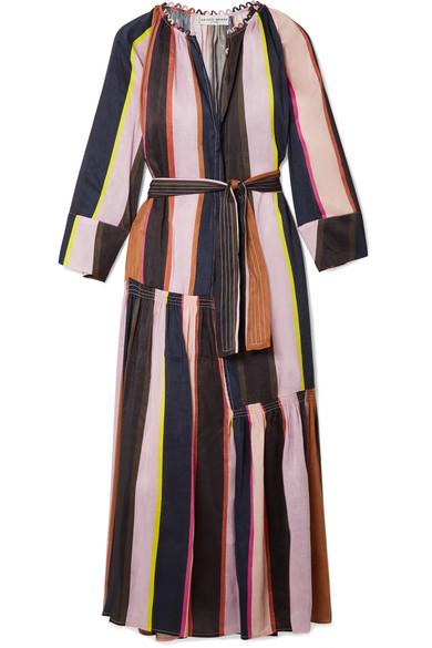 APIECE APART Stella gestreiftes Kleid aus einer Leinen-Seidenmischung