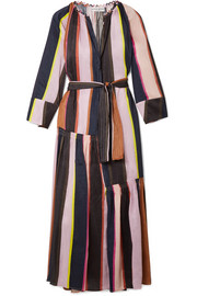 Stella striped linen and silk-blend midi dress
