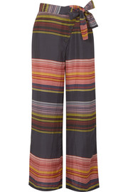 Raka striped silk-habotai wide-leg pants