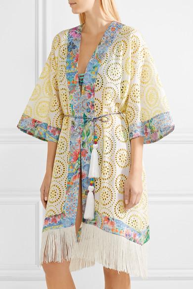 Matthew Williamson Deia Fiesta Kimono mit Fransen und Lochstickerei