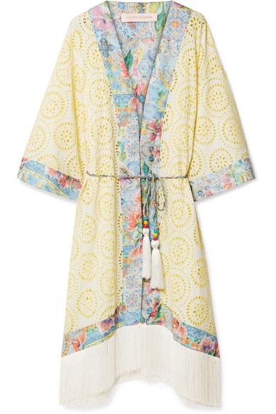 Matthew Williamson - Deia Fiesta Fringed Broderie Anglaise Kimono - Pastel yellow