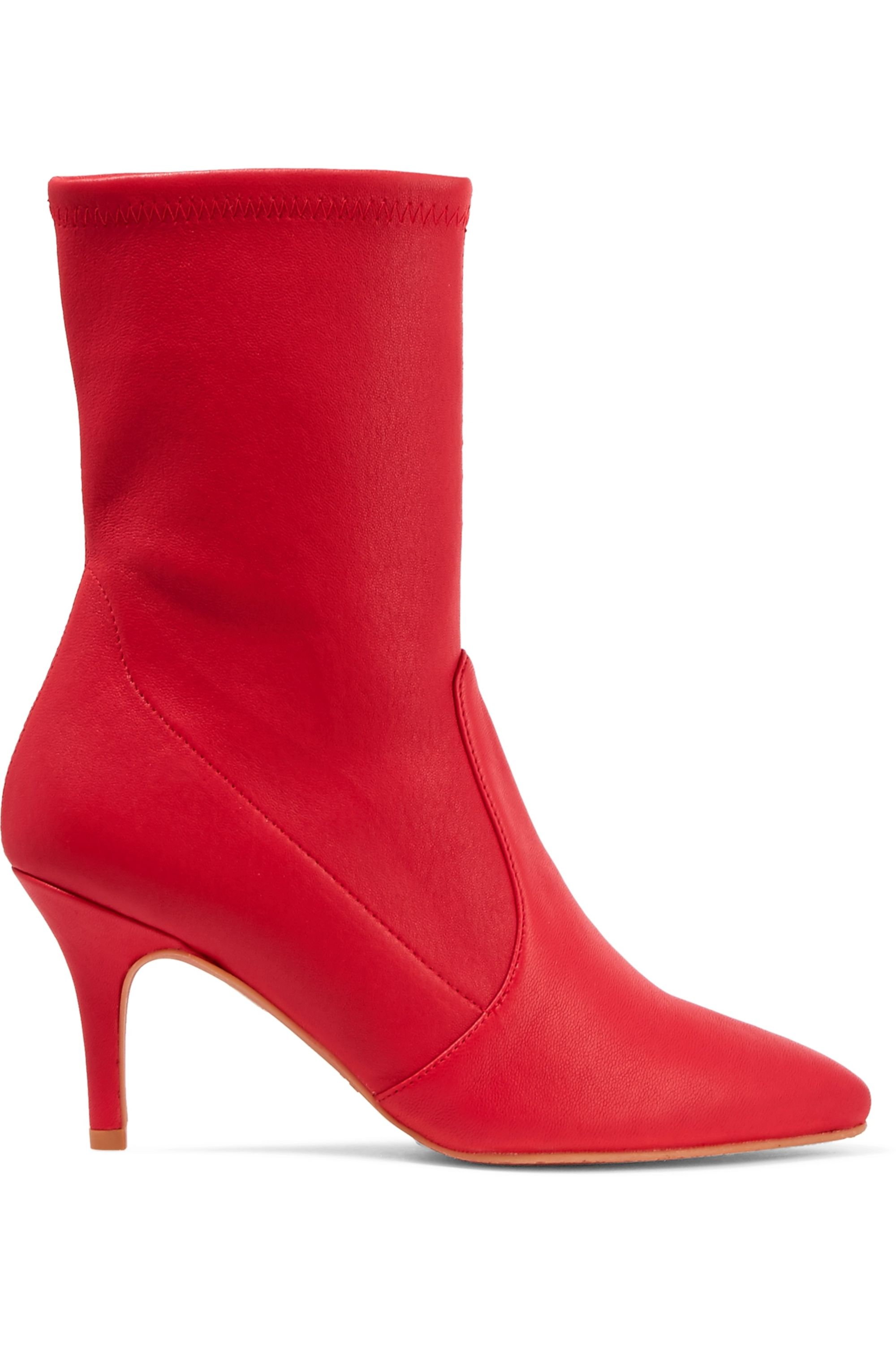 Red Cling leather sock boots | Stuart