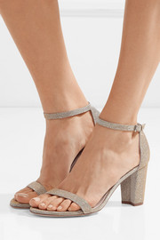 NearlyNude textured-lamé sandals