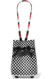Truss Party mini woven raffia-effect wristlet bag