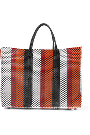 Striped woven raffia-effect tote