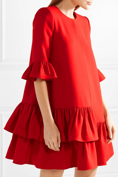 Alexander Mcqueen Minikleid Of A Wool-silk Blend With Ruffles