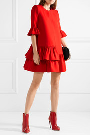 Alexander McQueen Ruffled wool and silk-blend mini dress