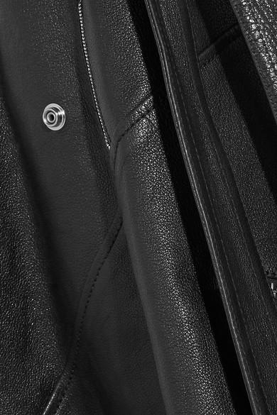 Alexander McQueen Minikleid aus strukturiertem Leder mit Gürtel und Reißverschlussdetails