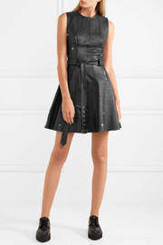 Alexander McQueen Zip-embellished belted textured-leather mini dress
