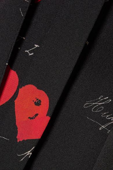 Alexander McQueen Bedrucktes Minikleid aus Crêpe de Chine aus Seide mit Schluppe Outlet Besten Preise Heißen Verkauf Online Bester Ort rVNkH1BX
