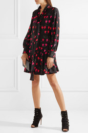 Alexander McQueen Pussy-bow printed silk crepe de chine mini dress