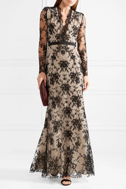 Alexander McQueen Satin-trimmed cotton-blend lace gown