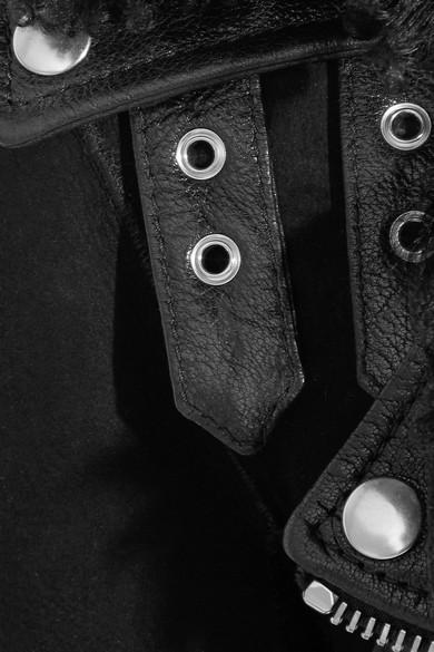 Alexander McQueen Bikerjacke aus Shearling mit Besatz aus strukturiertem Leder