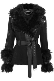 Alexander McQueen Textured leather-trimmed shearling biker jacket