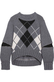 Alexander McQueen Oversized zip-detailed argyle wool sweater