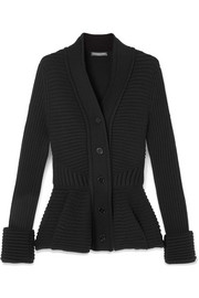 Ribbed wool peplum cardigan