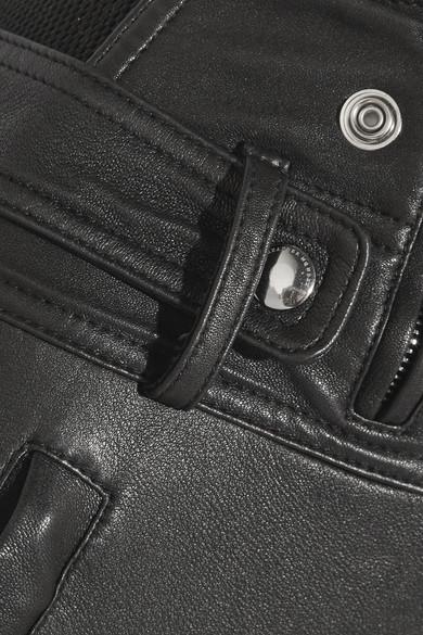 Alexander McQueen Eng anliegende Hose aus Stretch-Leder mit Mesh-Einsätzen