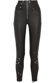 Alexander McQueen Mesh-trimmed stretch-leather skinny pants