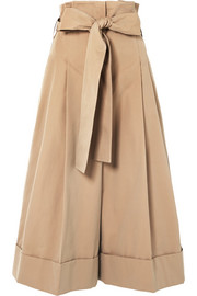 Belted cotton-twill wide-leg pants